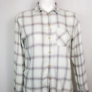 American Eagle Outfitters White/Purple Flannel